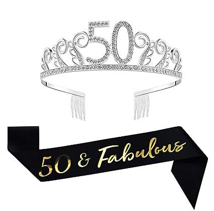 Amazon.com: Tiara de cumpleaños de 50 años y faja de satén ...