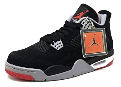 buy online 5aedf 54d50 Nike Mens Air Jordan 4 Retro Bred Black Cement Grey-Fire Red Suede  Basketball