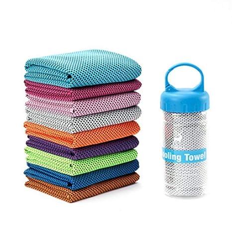Mespoo Toalla de enfriamiento, paquete de 4 100x30cm Refrigeración absorbente de sudor Toalla fría de