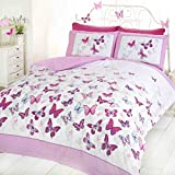 Blast Off Butterfly Duvet Set - Pink - Double Bed Size Bedding Cover Set