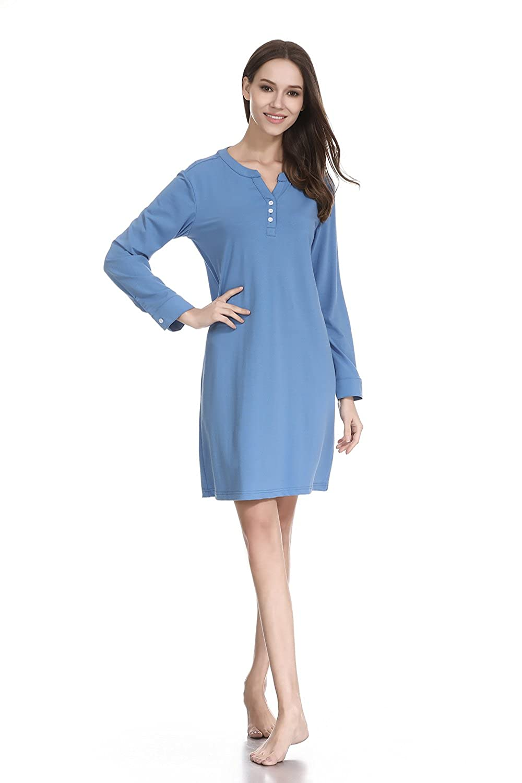 bluee lantisan Silky Satin Long Sleeve Sleepshirt for Women,Floral Boyfriend ButtonDown Nightshirt with Mask