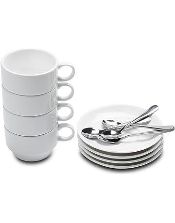 b3136272adc Aozita Espresso Cups and Saucers with Espresso Spoons, Stackable Espresso  Mugs,12-piece