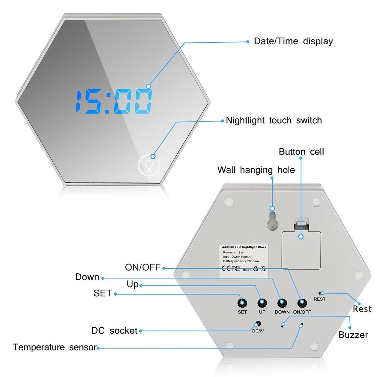 Soondar Multifunctional Travel Alarm Clock with Mirror Night Light & Temperature - Rechargeable Battery Included