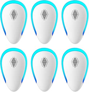 Ultrasonic Pest Repeller(6 Pack), 2021 Pest Control Ultrasonic Repellent, Electronic Repellant - Bug Repellent for Mice, Ant, Mosquito, Spider, Roach, Rat, Flea, Fly