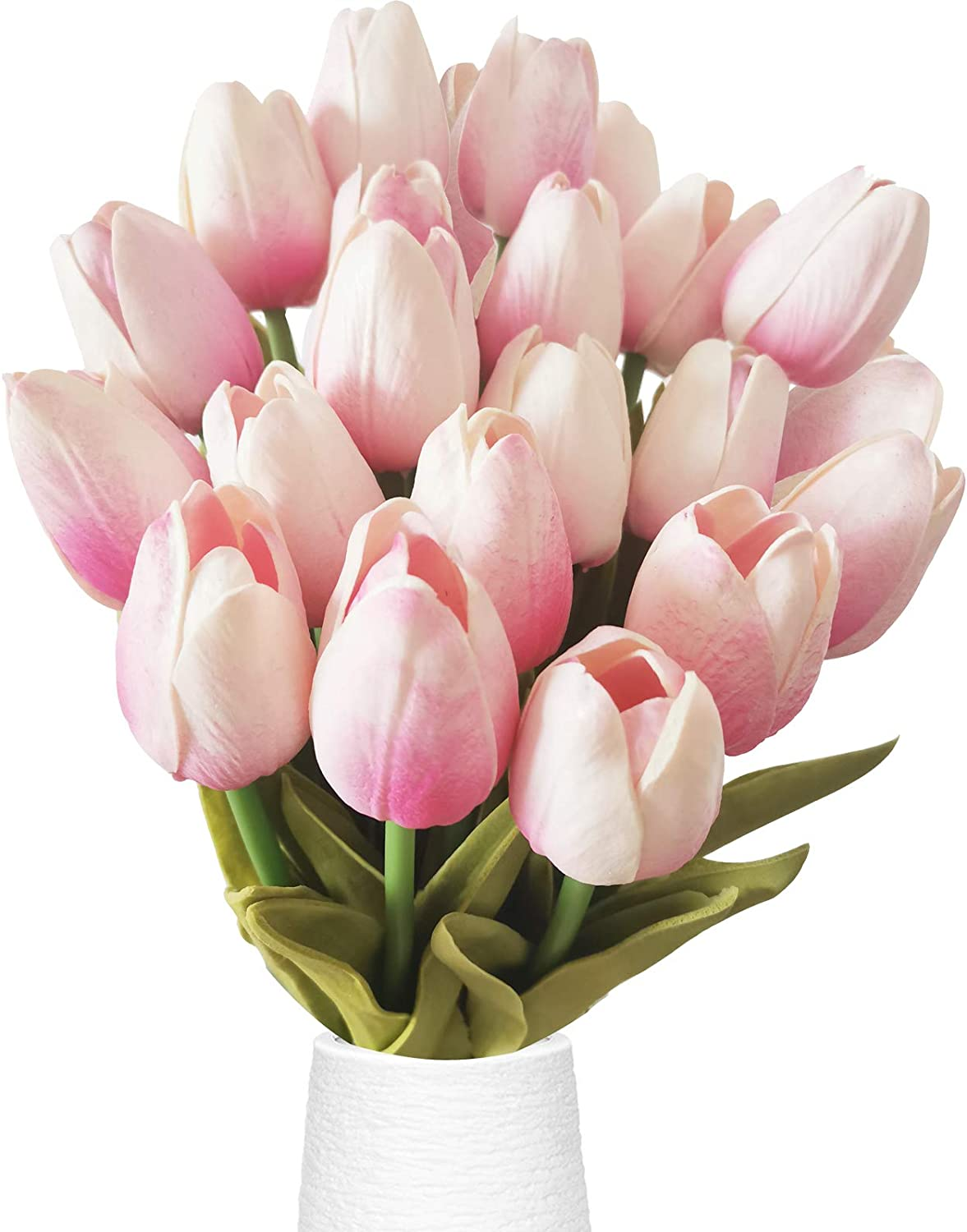 Tulips Lake 20 Heads Tulips Artificial Flowers Real Touch Tulips Silk Artificial Tulips Flower for Bouquet Room Centerpiece Party Wedding Office Home Decoration Thanksgiving Gift 13.4