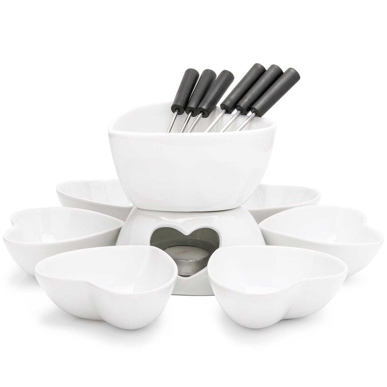 Zen Kitchen Fondue Pot Set, Glazed Ceramic Fondue Set for Chocolate Fondue or Cheese Fondue - Perfect Gift Idea for Housewarming or Birthday Gift by Zen Kitchen
