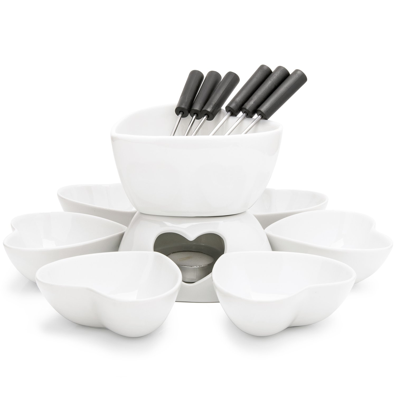 Zen Kitchen Fondue Pot Set, Glazed Ceramic Fondue Set for Chocolate Fondue or Cheese Fondue – Perfect Gift Idea for Housewarming or Birthday Gift