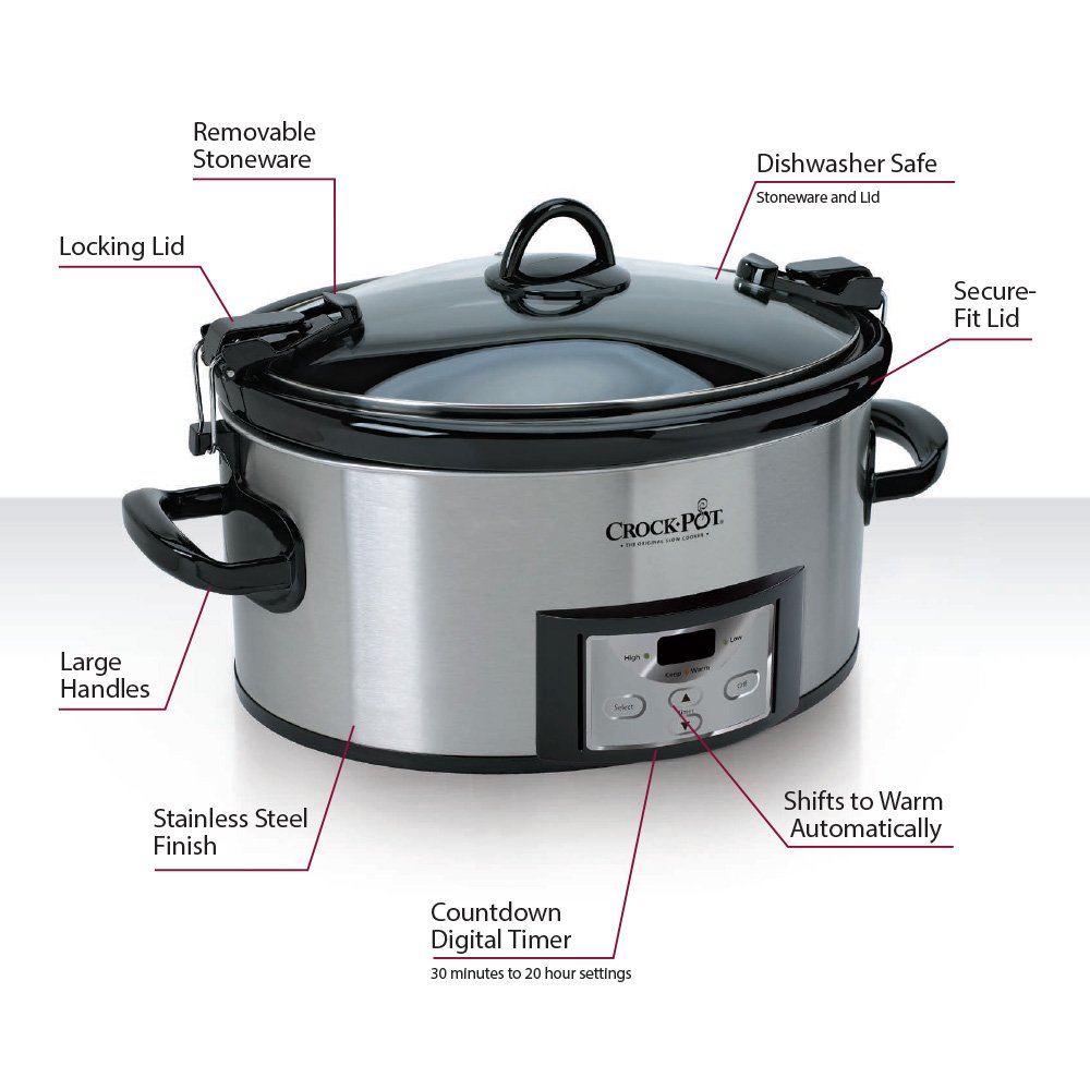Crock-Pot 6-Quart Programmable Cook & Carry Slow Cooker with Digital Timer, Stainless Steel, SCCPVL610-S by Crock-Pot (Image #2)
