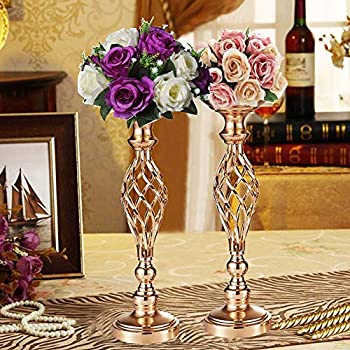 """Pcs of 2 Tall Metal Vase for Wedding Centerpieces Decoration-Artificial Flower Arrangement-Pillar Candle Holder Stand Set for Wedding Party Dinner Event Centerpiece Home Decor (2x20.5"""" H, Twist Style)"""