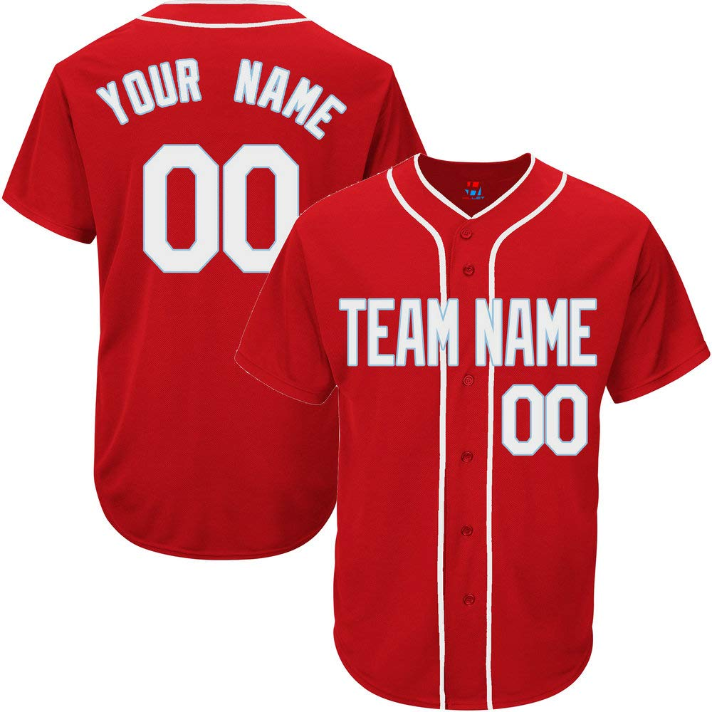 Red Customized Baseball Jersey for Men Practice Embroidered Your Name & Numbers,White-Light Blue Size 2XL by Pullonsy