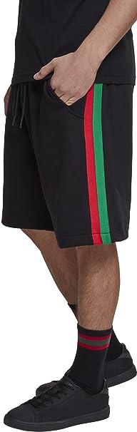 Stripe Sweatshorts, Bañador para Hombre, Schwarz (Black/Fire Red/Green 01269), XL Urban Classic