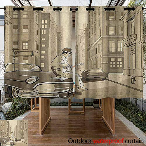 AndyTours Outdoor Curtain Panel for Patio,Jazz Music,Illustration of a Guitarist in an Old Street of New York Buildings Music Cityscape,Curtains for Living Room,K160C160 Beige (Street Park Patio Music)