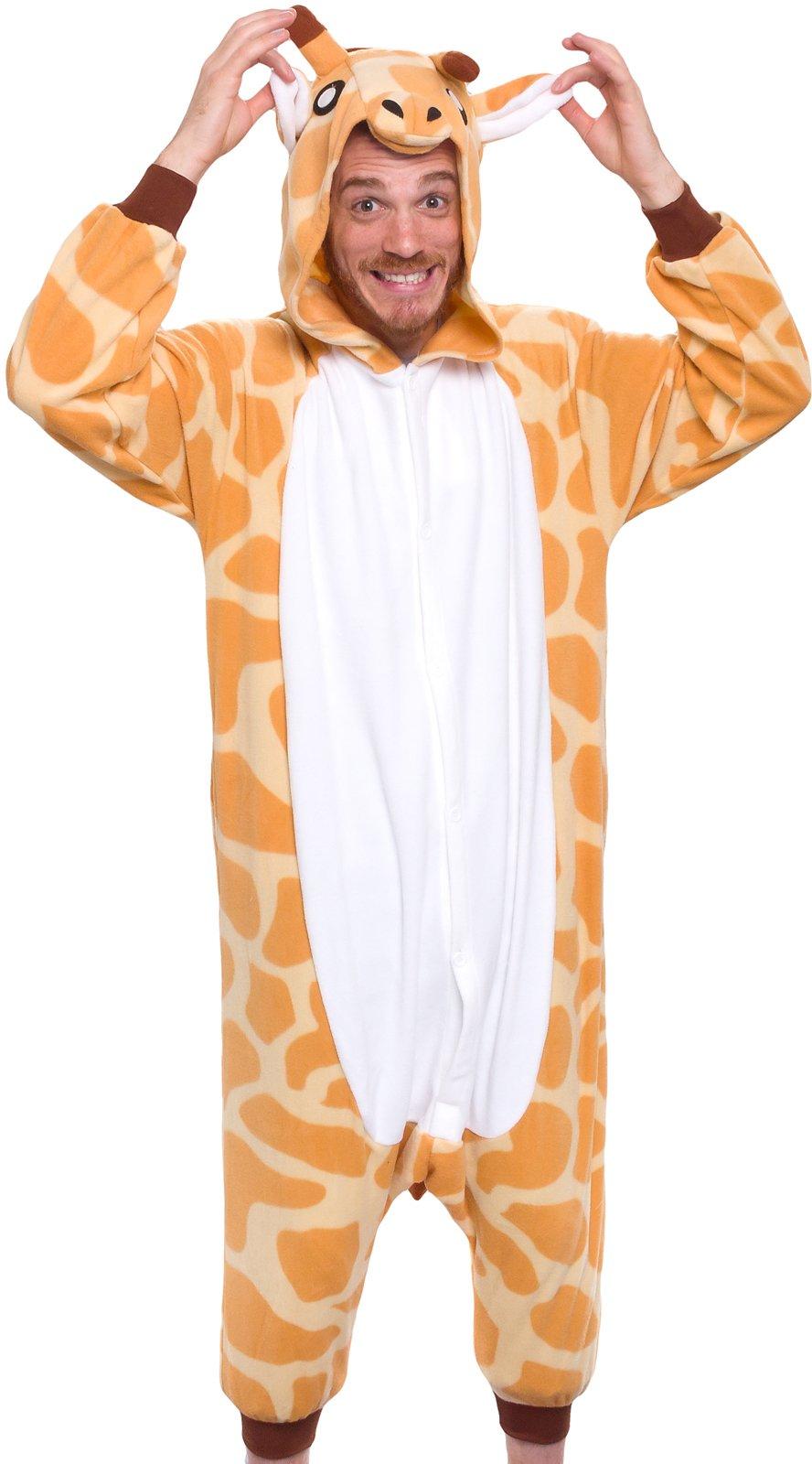 Silver Lilly Adult Pajamas - Plush One Piece Cosplay Animal Costume (Giraffe, M)