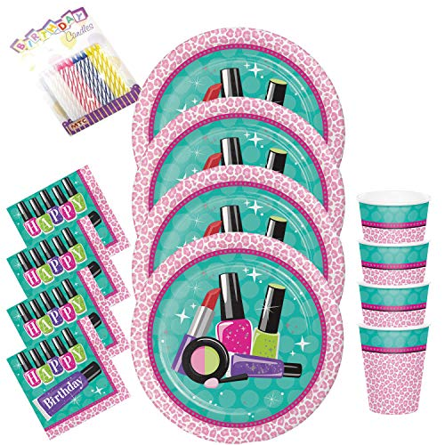Sparkle Spa Party Plates Napkins and Cups Serves 16 with Birthday Candles - Sparkle Spa Party Supplies Pack (Bundle for 16)