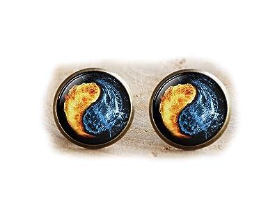 Yin Yang pendientes, fuego y agua símbolo joyas, Yoga regalo ...