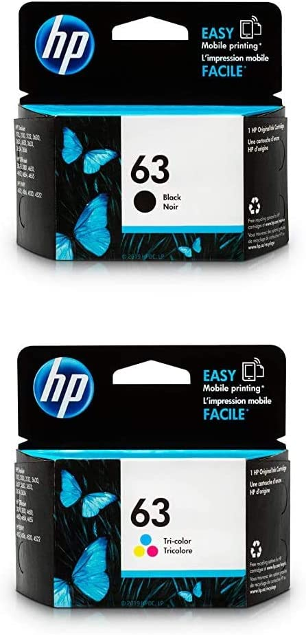HP 63 | 2 Ink Cartridges | Black, Tri-Color | F6U61AN, F6U62AN | Bundle