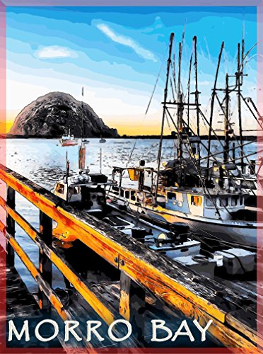 A SLICE IN TIME Morro Bay Morro Rock Central Coast San Luis Obispo California United States of America Travel Advertisement Art Poster Print. Poster measures 10 x 13.5 inches
