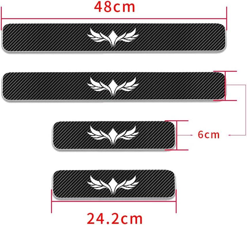 for Pontiac Aztek Carbon Fiber Door Sill Protector Anti-Kick Scratch Welcome Pedals Guards Threshold Sticker Pattern Bat 1 Blue 4Pcs