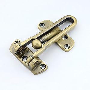 TOGU Solid Thicken Security Door Guard,Gate Latches Swing Bar Door Guard,Burglar-Proof Padlock Door Clasp for Home,Apartment,Hotel,Motel,Dormitory,Antique Brass