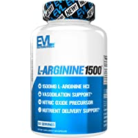 Evlution Nutrition L-Arginine 1500 mg, Ultra-Pure Nitric Oxide Supplement, Muscle Growth and Vascularity, Energy and Stamina, Powerful NO Booster, Essential Amino Acids (50 Servings)