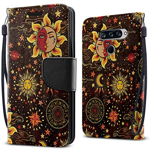 FINCIBO Case Compatible with LG V40 ThinQ 6.4 inch, Fashionable Flap Wallet Pouch Cover Case + Card Holder Kickstand for LG V40 ThinQ - Celestial Sun Moon and Stars