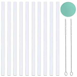 Greant [10-Pack] Replacement Straws Set Compatible with Hydro Bottle Wide Mouth Flask Straw Lid with 2 Straw Brush, BPA Free, 10-Pack