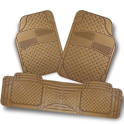 For All Weather Heavy Duty Ver.2 Metal Style Beige Car Interior Front + Rear Floor Mats 3 Pcs Liner