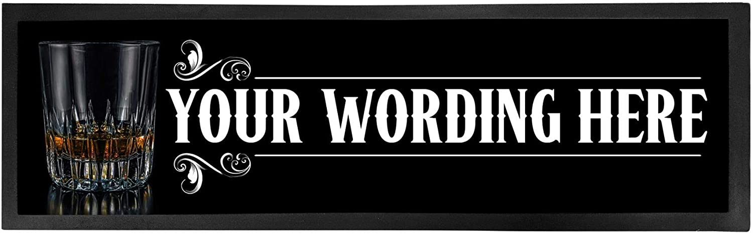 Personalized Bar Runner Mat - Novelty Beer Gifts for Home Bars - Whiskey Glass
