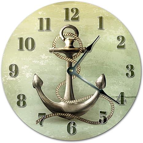 Amazon Com Easysells 10 5 Seamans Anchor 3d Design Clock Large 10 5 Wall Clock Home Décor Clock Home Kitchen