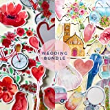 Watercolor Wedding Stickers and Flower Stickers for Your Invitations, Scrapbooking and Guestbooks by Navy Peony (70 Pieces)