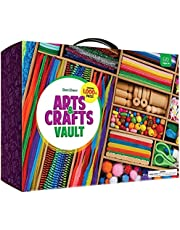 Arts and Craft Kit Vault - 1000+ Piece Crafts Kit Library in a Box for Kids Ages 4 5 6 7 8 9 10 11 & 12 Year Old Girls & Boys - Crafting Supplies Set Kits - Gift Ideas for Preschool Kids Project Activity