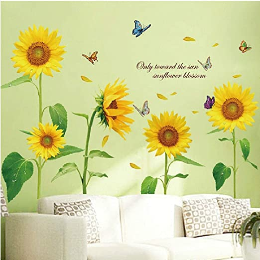 Removable Self-adhesive Sunflower Wall Decal Sticker Home Room DIY Art Decor