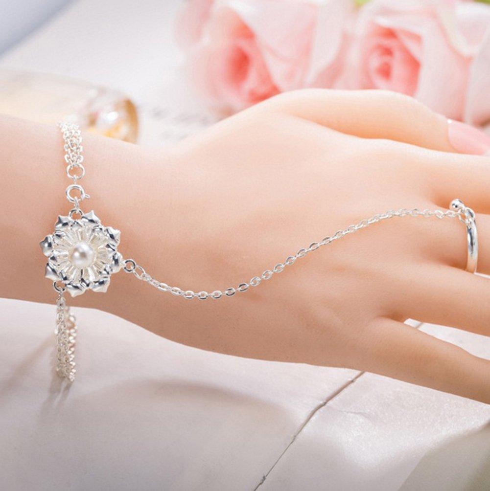 Hosaire Pulsera Mujer de Plata Flor de Loto Regalos para Las Mujeres Regalos De La Joyer/ía Brazalete Anillo One Bracelet Ajustable