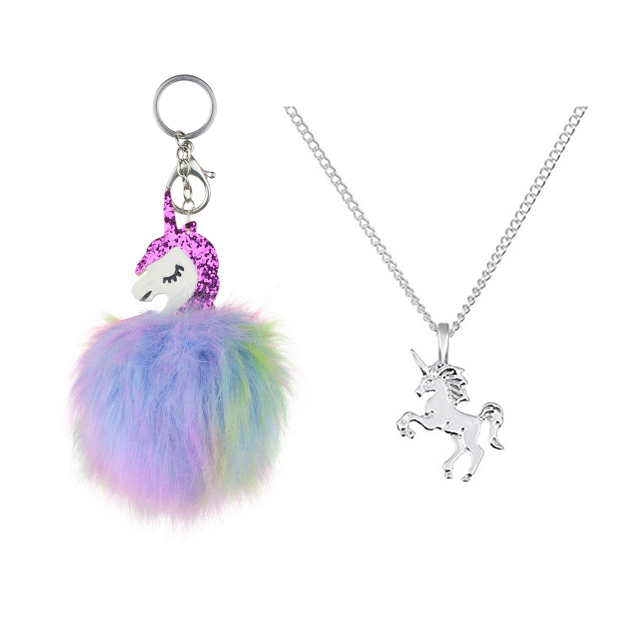 DRESHOW Unicorn Drawstring Backpack/Make up Bag/Necklace Chain/Fluffy Key Chain Ring/Bracelet Gift Sets Girls Pack 2-8 CST0005-2A