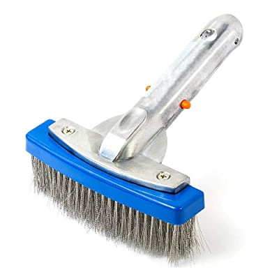 Daveyspa 5-inch Heavy-Duty Swimming Pool Cleaning Brush with Aluminum Handles and Stainless Steel bristles is Ideal for handling Stubborn Stains in Concrete and Granite Pools. : Garden & Outdoor