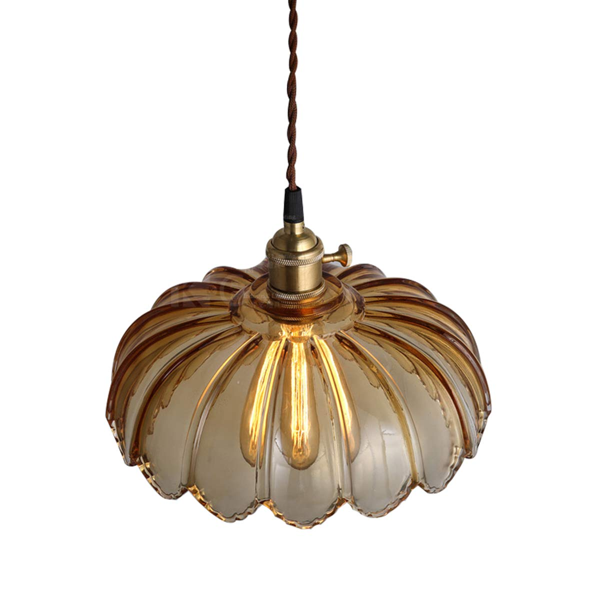 Industrial Chandelier Pumpkin Lights Pendant Light Clear Glass Kitchen Hanging Lamp Vintage Bronze Socket Farmhouse Decor (Amber)