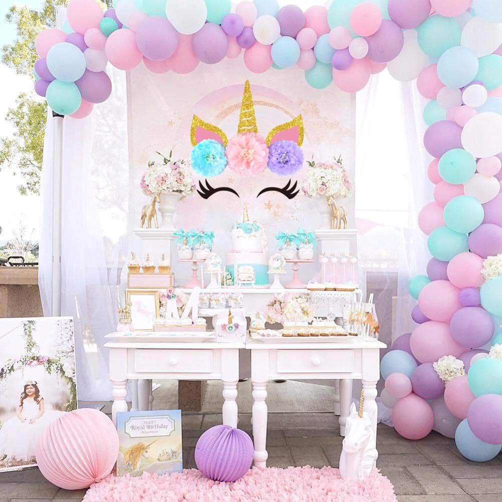 Decoraciones de fondo de unicornio Decoración de pared Decoraciones de fiesta de cumpleaños de unicornio para niñas Papel Pom Poms con adhesivo de ...