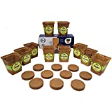 """10 Pot Seed Starter Kit With 10 3"""" Coconut Coir Garden Pots and 10 Coconut Soil Disks (Windowsill Herb Garden Refill Kit - Seeds Sold Separately)"""