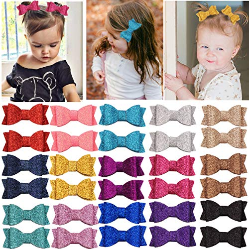 30PCS 2.75 Inch Baby Girls Pigtail Bows Sparkly Sequin Glitter Hair Bows With Alligator Clips Hair Barrettes Accessory for Girls Toddlers Kids Teens