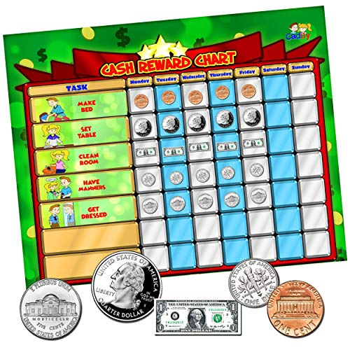 Cadily Cash Reward Chart | Magnetic Chore Chart for Kids | Rewards Good Behavior and Responsibility