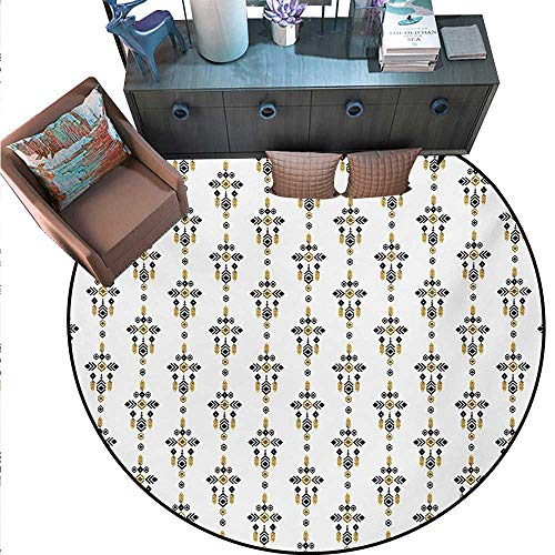 (Tribal Round Area Rug Carpet Ethnic Native American Aztec Mayan Cultural Symbols Geometric Motifs Anti-Skid Area Rug (63