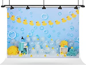 Kate 7×5ft Yellow Rubber Duck Kids Backdrop Baby Shower Photo Backdrops Chilren Photo Studios Prop for Newborn Chilren Birthday Photography Party Decoration Blue