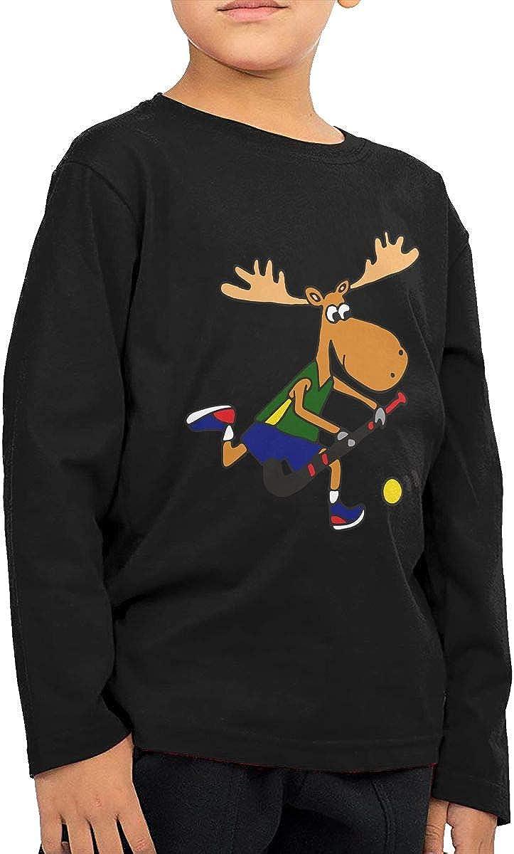 Dee O.STORE Moose Playing Field Hockey Boys/&Girls Long Sleeve T-Shirts