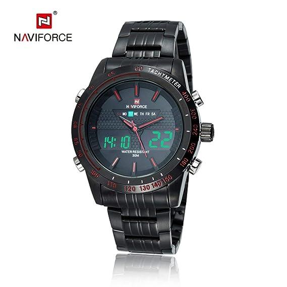 NAVIFORCE 9024 Original Men Sport Relojes de Cuarzo Movimiento de Acero Inoxidable Pulsera de Doble Pantalla