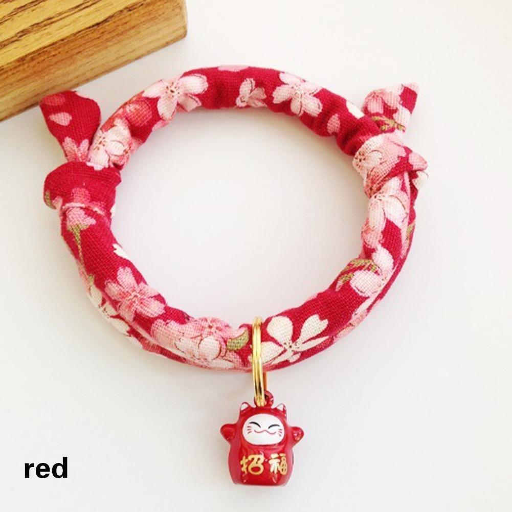 juxinuk 1pc Japonais-fait à la main collier pour animaux de compagnie avec Bell collier pour animaux de compagnie (Violet)