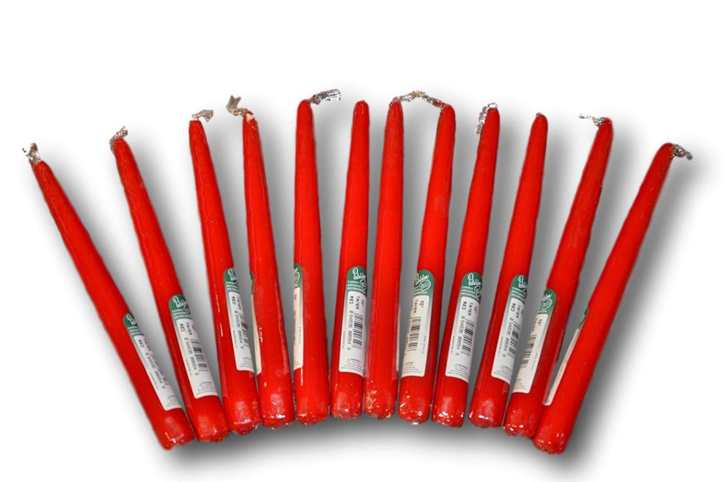 Dripless Taper Candles 10'' inch Tall Tapered Wedding Dinner Candle Set of 12 (RED) Cello wrap Sealed Made in USA