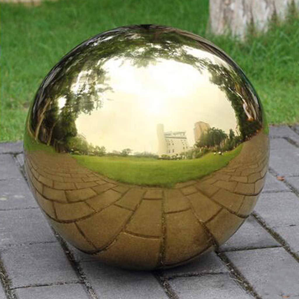 HomDSim 48cm/19 inch Diameter Gazing Globe Mirror Ball,Gold Stainless Steel Polished Reflective Smooth Garden Sphere,Colorful and Shiny Addition to Any Garden or Home by HomDSim (Image #2)