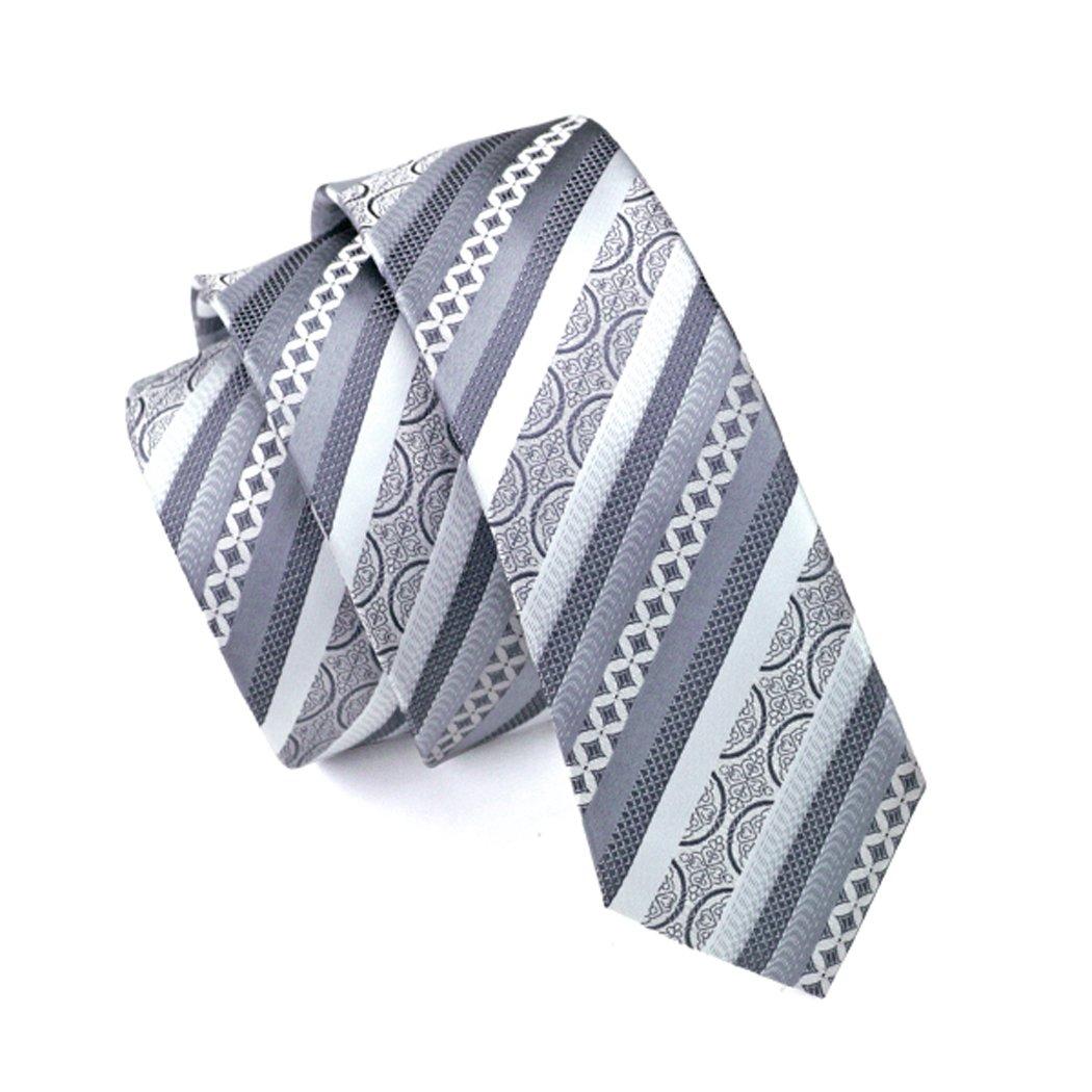 caofenvoo hombre corbata hh-055 gris plata Jacquard tejido de seda ...