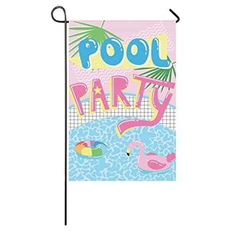 BoloHome Bandera de flotador de piscina de dibujos animados con flamencos de jardín de 30,