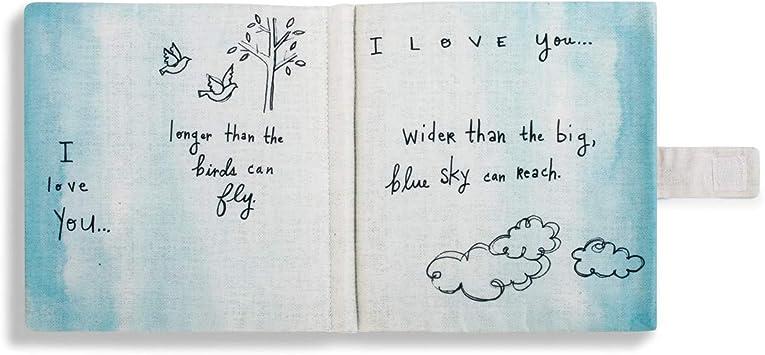 DEMDACO I Love You Simple Pair of Hearts Cream Burlap Childrens Plush Soft Book Toy